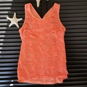 SO ruffle Tank top w/ V back and bow, Coral sz 10